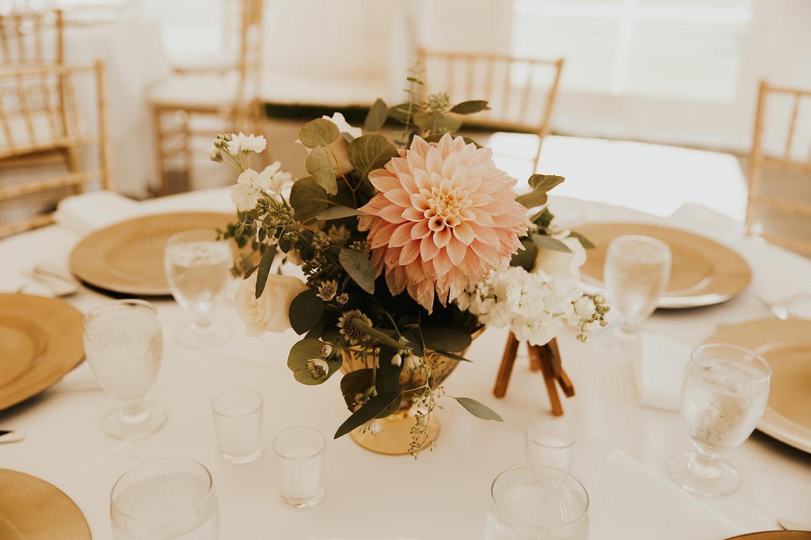 cafe au lait dahlia, classic wedding flowers, eucalyptus, gold, ivory, blush flowers, urn centerpieces