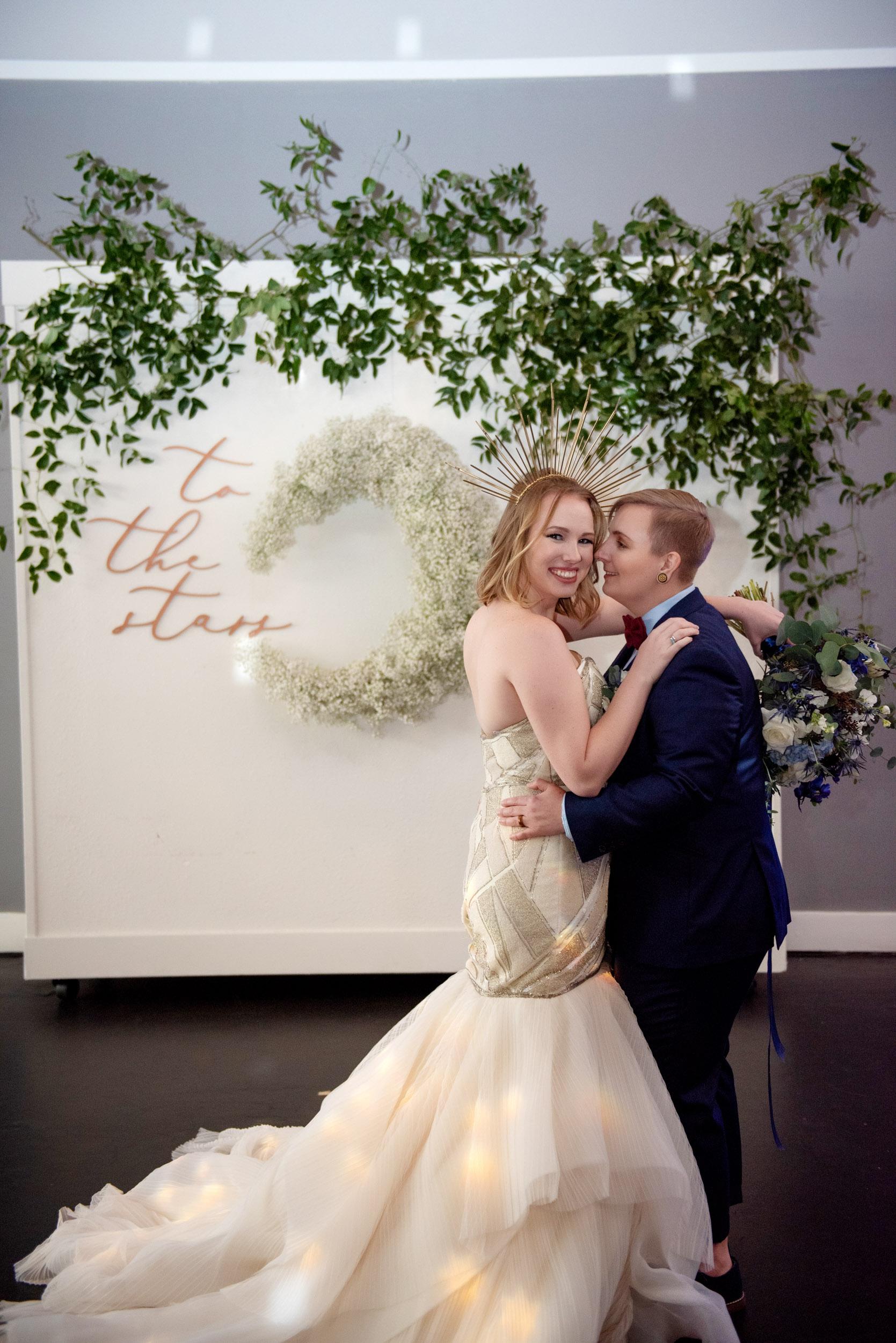 lbgtq wedding, queer wedding, lesbian wedding, bridal gown, brides, bridal bouquet, blue bridal bouquet, elegant romantic, celestial wedding