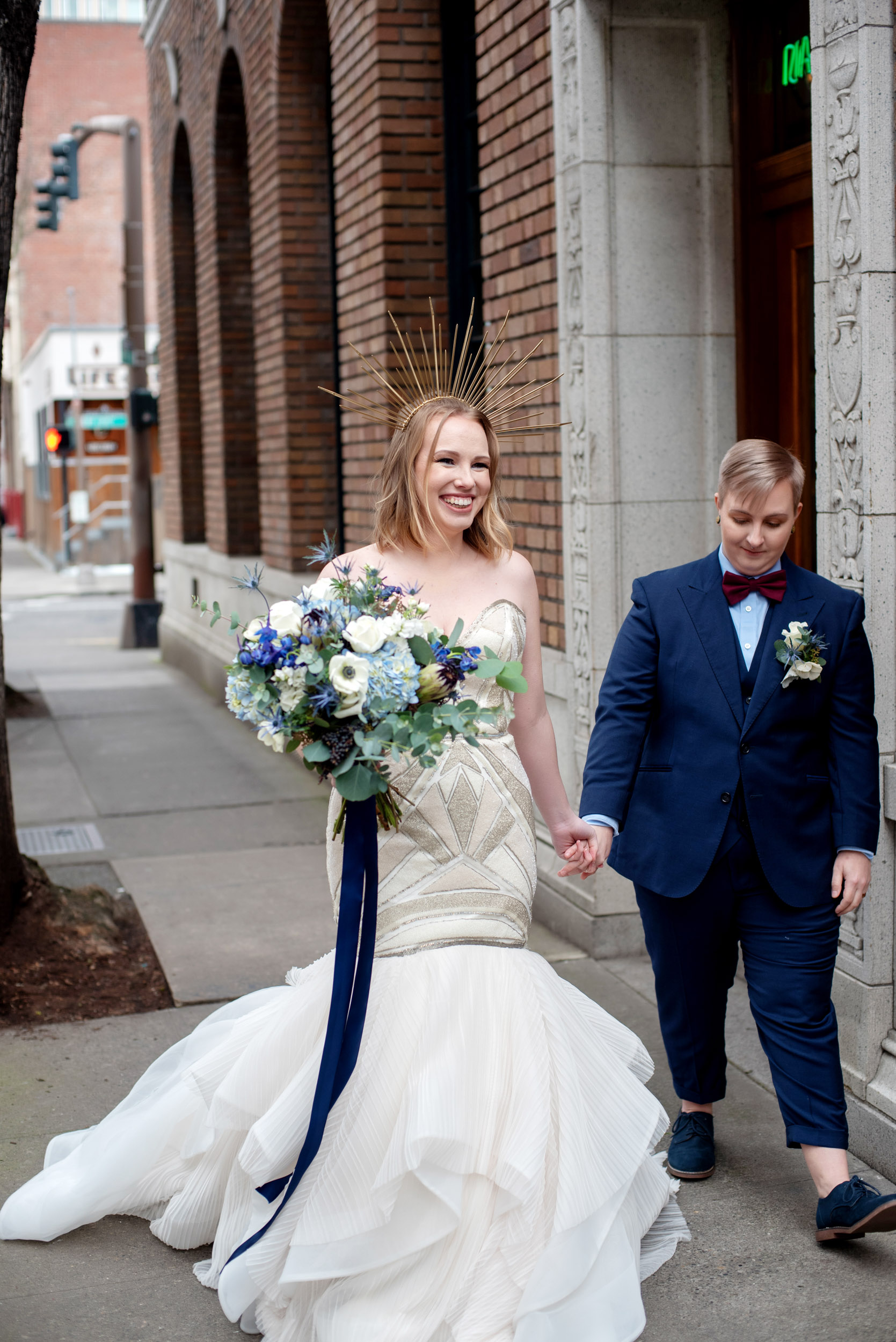 queer wedding, pdx pride, portland gay pride, gay wedding, lesbian wedding, blue wedding, classic blue wedding, blue bouquet, wedding bouquet, bride bouquet. portland florist, portland wedding venue