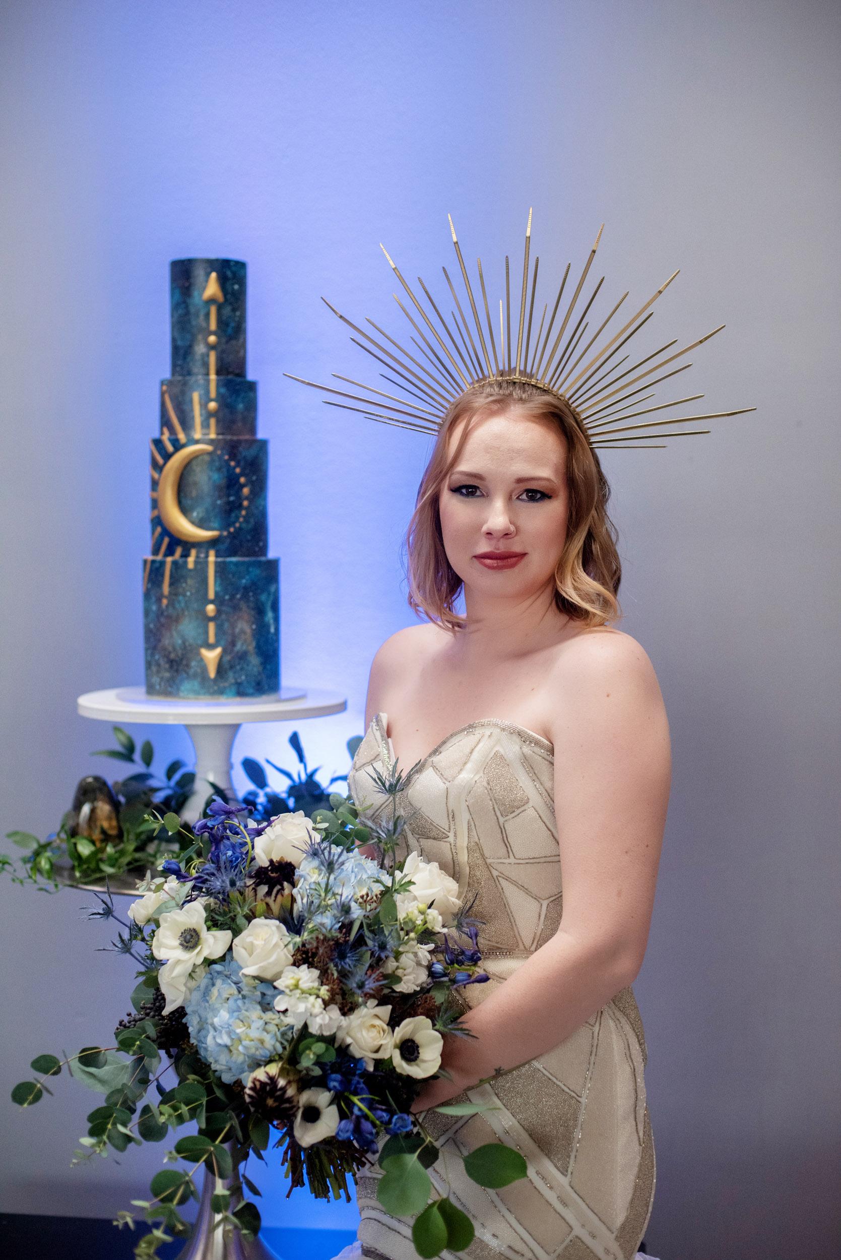 crystals, bohemian, boho, eucalyptus, anemone, protea, luxury wedding cake, sewell sweets, celestial wedding, hayley paige gown, ivory wedding gown, goddess, magic, wiccan wedding magic wedding, witch wedding