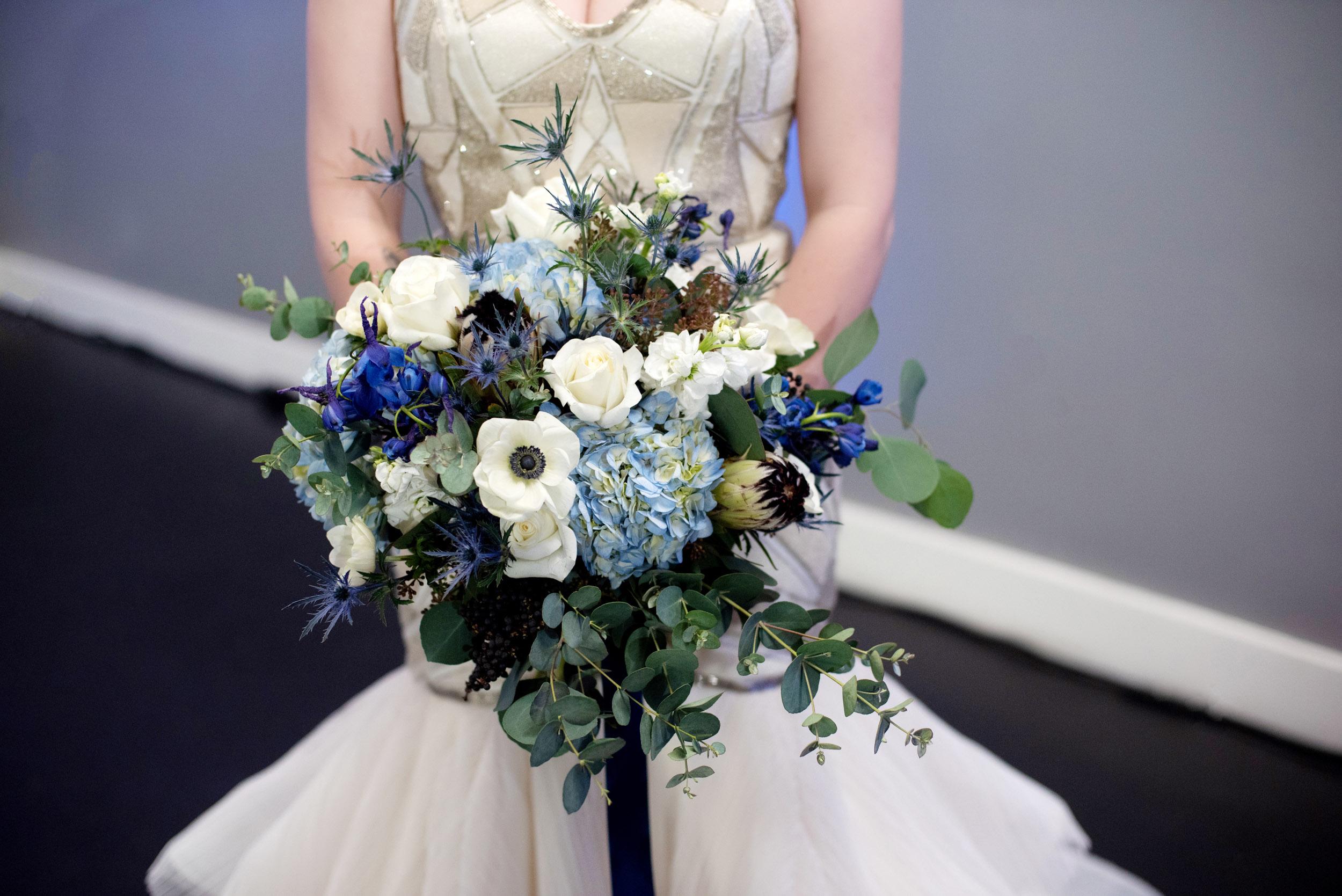 blue hydrangea, blue ribbon, blue bouquet, elegant romantic bouquet, high end luxury flowers, luxury wedding florist, bride bouquet, portland florist, portland wedding florist