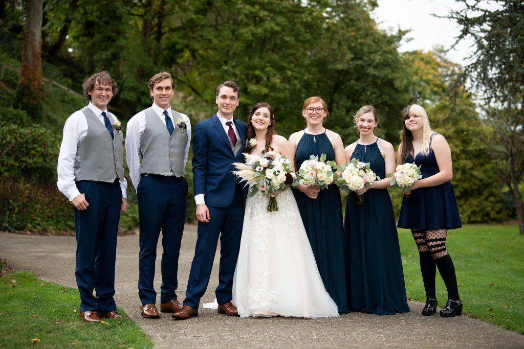 bridal party, bridesmaids, groomsmen, bridesmaid and groomsmen, wedding details. navy wedding, celestial wedding, portland wedding flowers, portland wedding florist, bridal party flowers