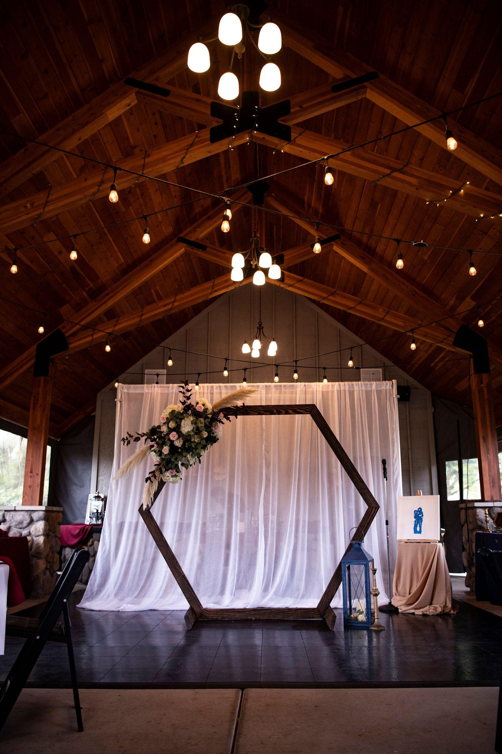 wedding arbor, hexagon arbor, sah-hah-lee wedding, indoor wedding
