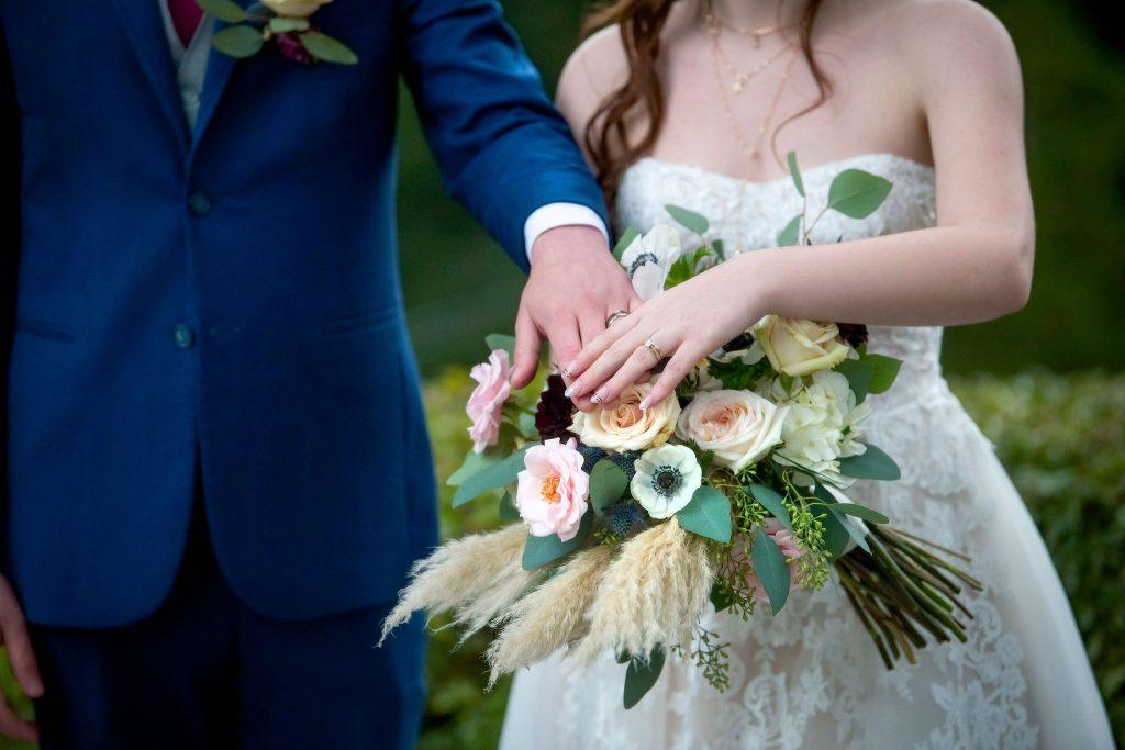 boho bouquet, pampas grass bouquet, anemone bouquet, blush and navy bouquet, blush and navy wedding, portland wedding florist, oregon wedding florist