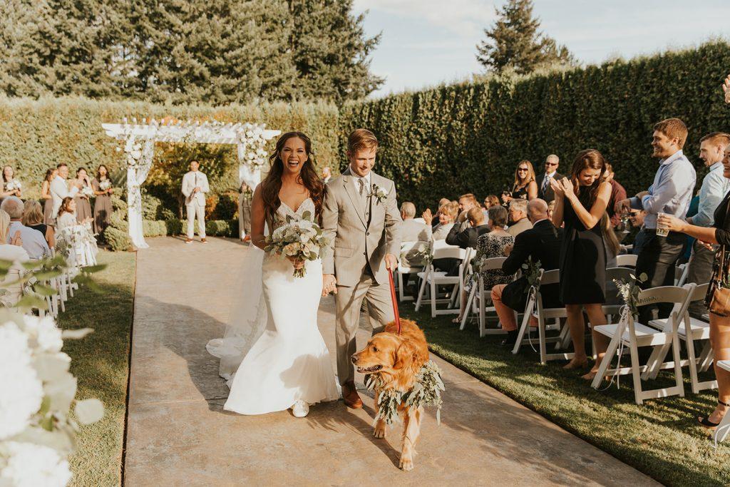 bride and groom, wedding day, wedding florist, oregon wedding florist, portland wedding florist, wedding dog, wedding couple