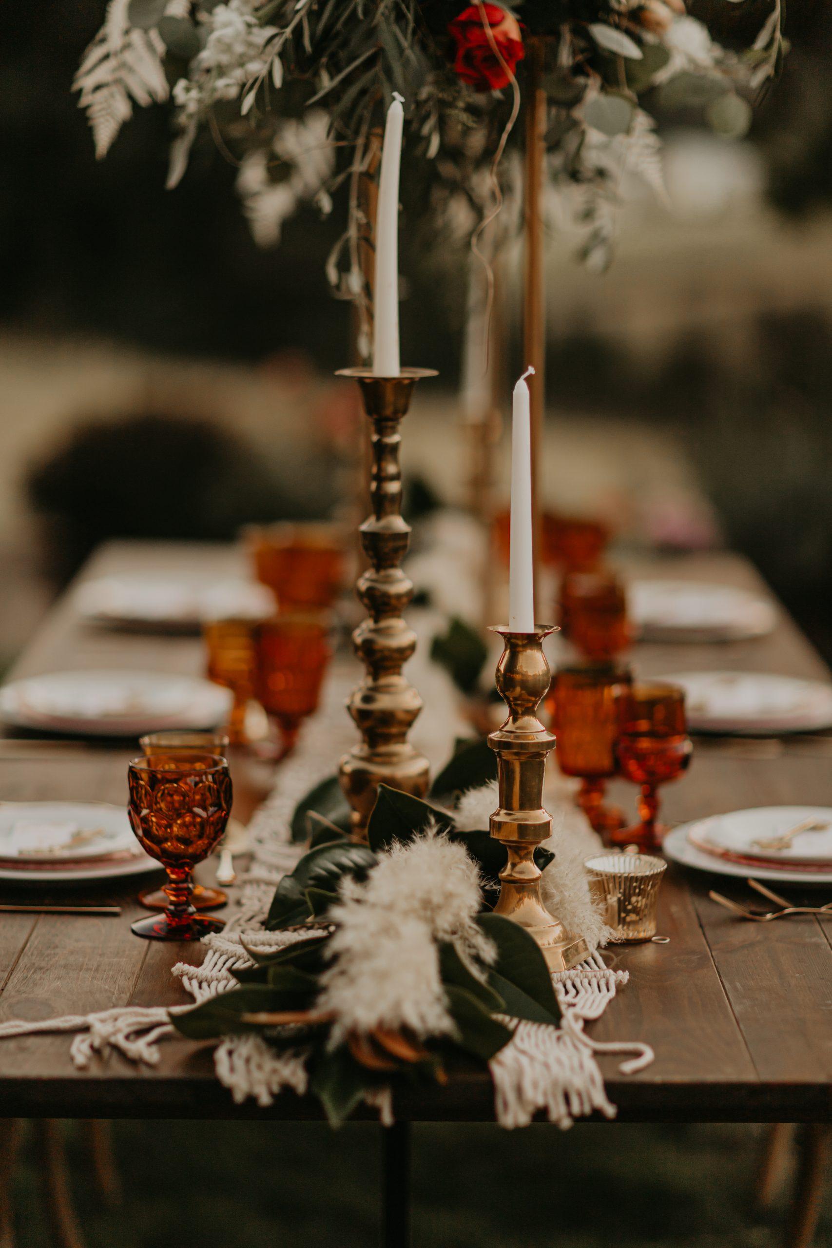 boho wedding, boho wedding table, harlow stands, lifted arrangement, terra cotta wedding, burnt orange wedding
