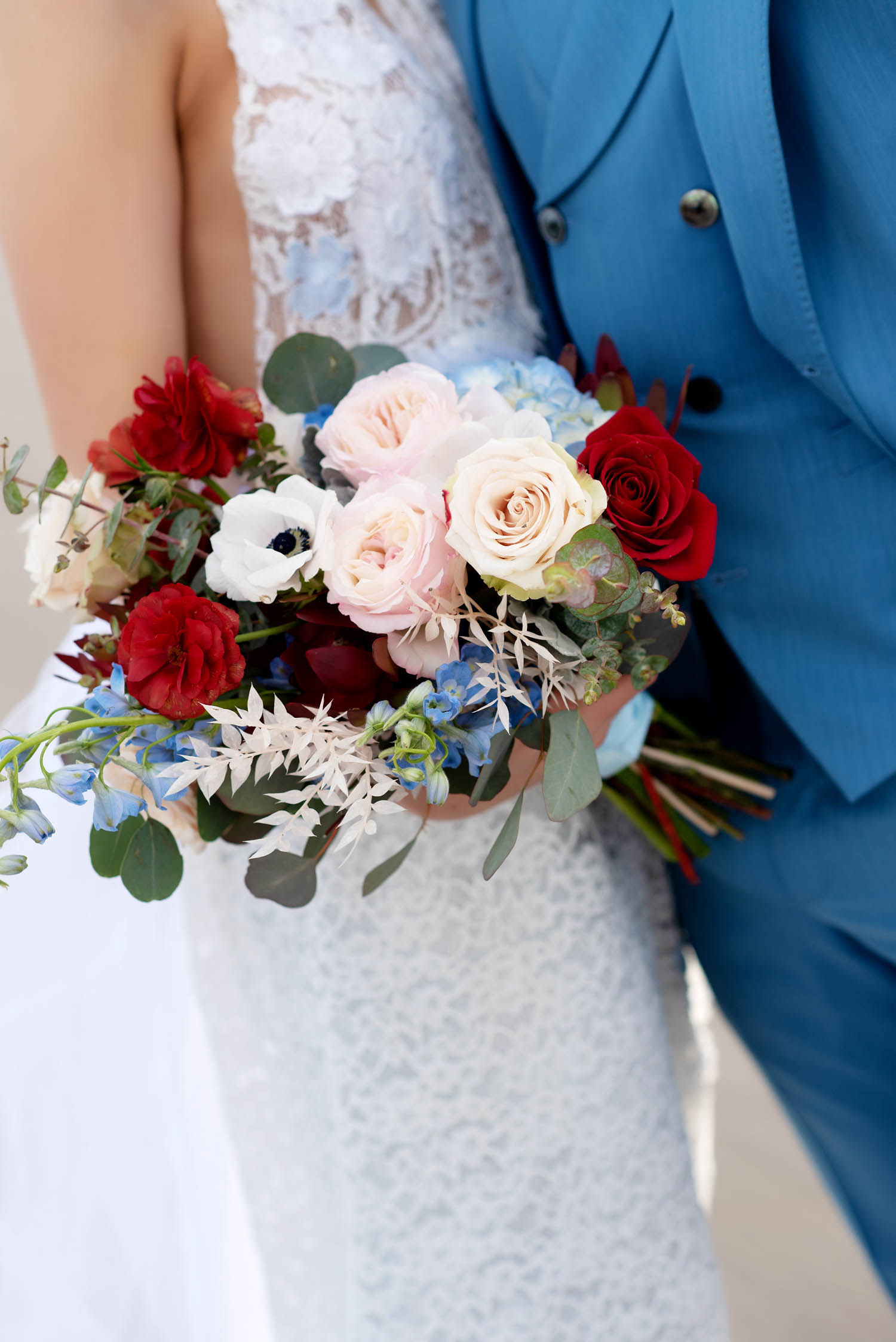 bridal bouquet, blush and red bouquet, blush red and blue bouquet, red white and blue bouquet, garden roses, white and black anemone, oregon wedding florist, portland wedding florist