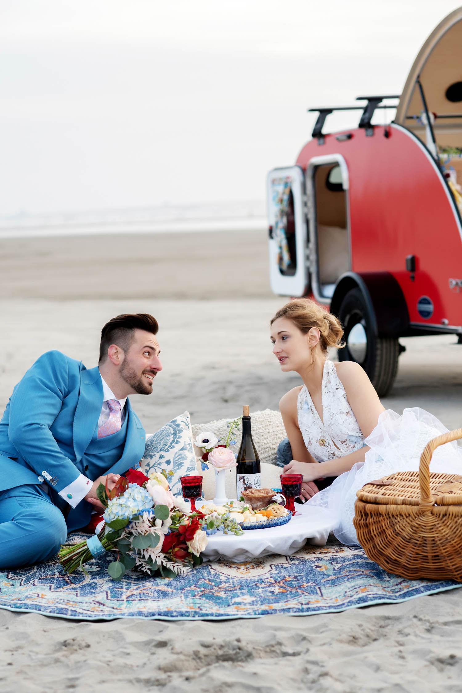 wedding picnic, elopement picnic, beach wedding, adventure elopement, charcuterie board, charcuterie picnic, bride and groom