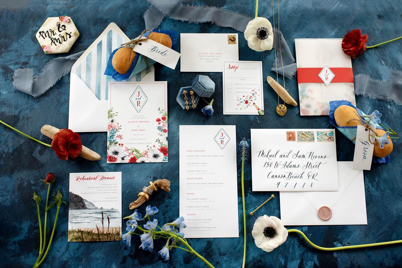 flat lay, wedding flat lay, wedding stationery, wedding invites, handlettering, wedding hand lettering, portland wedding florist